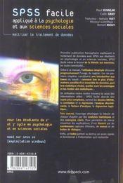 SPSS facile - 4ème de couverture - Format classique