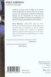 L'affaire Lerouge - 4ème de couverture - Format classique