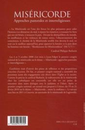 Miséricorde ; approches pastorales et interreligieuses - 4ème de couverture - Format classique