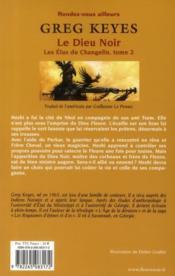 Les élus du changelin t.2 ; le dieu noir - 4ème de couverture - Format classique