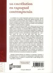 Correlation en espagnol contemporain - 4ème de couverture - Format classique