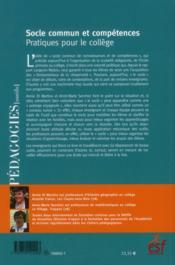 Socle commun et compétences ; pratiques pour le collège - 4ème de couverture - Format classique