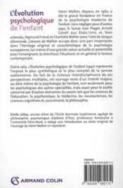 L'évolution psychologique de l'enfant (11e édition) - 4ème de couverture - Format classique