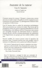 Anatomie de la rumeur - 4ème de couverture - Format classique