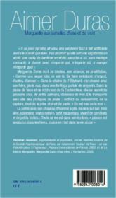 Aimer Duras ; Marguerite aux semelles d'eau et de vent - 4ème de couverture - Format classique