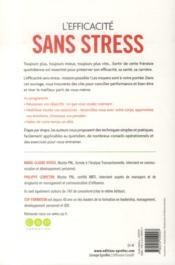 L'efficacité sans stress ; mobiliser ses ressources pour mieux réussir - 4ème de couverture - Format classique