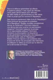 La sixième République ; pourquoi, comment ? - 4ème de couverture - Format classique