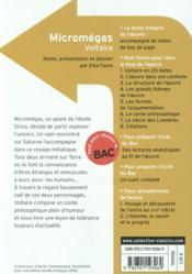 Micromégas, de Voltaire - 4ème de couverture - Format classique