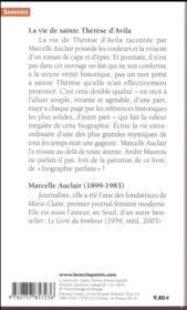 La vie de sainte Thérèse d'Avila - 4ème de couverture - Format classique
