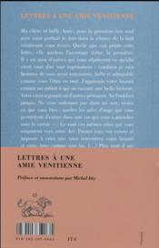Lettres à une amie venitienne - 4ème de couverture - Format classique