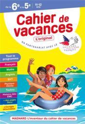 Cahier de vacances ; de la 6e à la 5e ; 11/12 ans - Couverture - Format classique