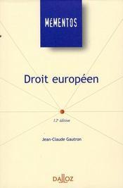 Droit Europeen (12e Edition - Intérieur - Format classique