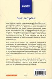 Droit Europeen (12e Edition - 4ème de couverture - Format classique