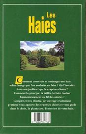 Les haies ; la plantation, l'entretien, la taille - 4ème de couverture - Format classique
