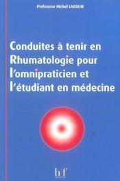 Conduites A Tenir En Rhumatologie Pour L'Omnipraticien Et L'Etudiant En Medecine - Intérieur - Format classique