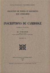 Inscriptions du Cambodge t.7 - Couverture - Format classique