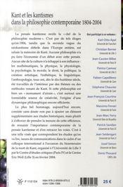 Kant et les kantismes dans la philosophie contemporaine, 1804-2004 - 4ème de couverture - Format classique