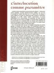 Interlocution comme paramètre - 4ème de couverture - Format classique