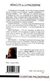 Héraclite ou la philosophie - 4ème de couverture - Format classique