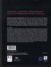 Variations Evolutions Metamorphoses - 4ème de couverture - Format classique
