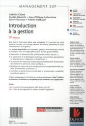 Introduction à la gestion (3e édition) - 4ème de couverture - Format classique