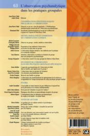 Rppg N.63 ; L'Observation Psychanalytique Dans Les Pratiques Groupales - 4ème de couverture - Format classique