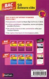 Le bac français en 50 auteurs-clés (édition 2014) - 4ème de couverture - Format classique