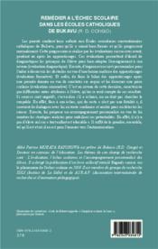 Remédier à l'échec scolaire dans les écoles catholiques de Bukavu (R.D. Congo) ; par l'évaluation et l'accompagnement personnalisé - 4ème de couverture - Format classique