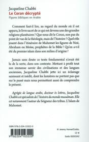 Le Coran drécrypté - 4ème de couverture - Format classique