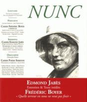 Revue Nunc N.37 ; Cahier Frédéric Boyer / Cahier Edmond Jabès / Cahier Poésie Syrienne - Couverture - Format classique