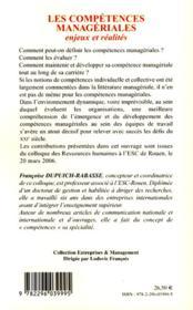 Les compétences manageriales ; enjeux et réalités - 4ème de couverture - Format classique