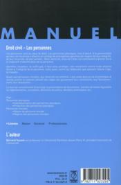 Droit civil ; les personnes (17e édition) - 4ème de couverture - Format classique