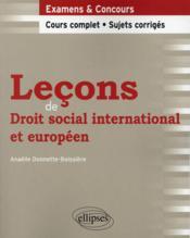 Lecons De Droit Social International Et Europeen - Couverture - Format classique