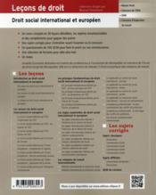 Lecons De Droit Social International Et Europeen - 4ème de couverture - Format classique