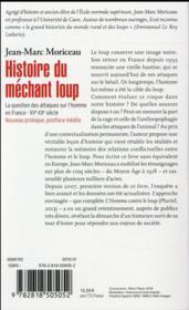 Histoire du méchant loup ; 10000 attaques sur l'homme en France XVe-XXe siècle - 4ème de couverture - Format classique