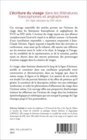 L'écriture du visage dans les littératures francophones et anglophones ; de l'âge classique au XXI siècle - 4ème de couverture - Format classique