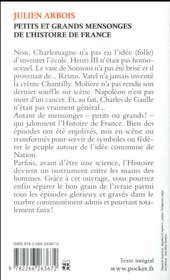 Petits et grands mensonges de l'histoire de France - 4ème de couverture - Format classique