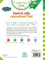 J'apprends à lire avec Sami et Julie ; Sami et Julie rencontrent Tobi - 4ème de couverture - Format classique