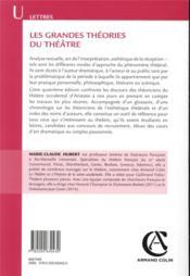 Les grandes théories du théâtre (4e édition) - 4ème de couverture - Format classique