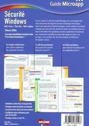Securite Windows ; Antivirus Et Pare-Feu - 4ème de couverture - Format classique