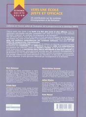 Vers Une Ecole Juste Et Efficace - 4ème de couverture - Format classique