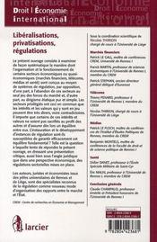 Libéralisations, privatisations, régulations ; aspects juridiques et économiques des régulations sectorielles - 4ème de couverture - Format classique
