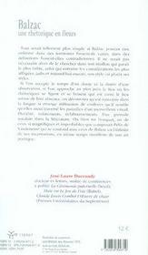 Balzac, une rhétorique en fleurs - 4ème de couverture - Format classique