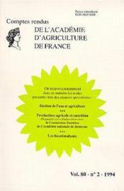 Gestion de l'eau agriculture ; production agricole nutrition les biostimulants t.80 ; aaf n.2 - Couverture - Format classique