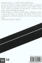 Onze lettres à Pénélope - 4ème de couverture - Format classique