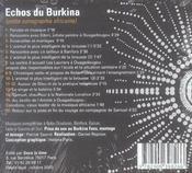 Échos du burkina ; petite sonographie africaine - 4ème de couverture - Format classique