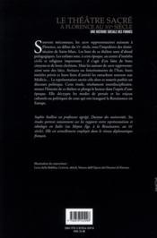 Le théâtre sacré à Florence au XV siècle ; une histoire sociale des formes - 4ème de couverture - Format classique