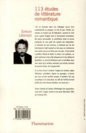 113 études de littérature romantique - 4ème de couverture - Format classique