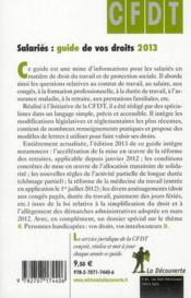 Salaries ; guide de vos droits ; 2013 - 4ème de couverture - Format classique
