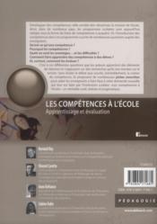 Les compétences à l'école ; apprentissage et évaluation - 4ème de couverture - Format classique